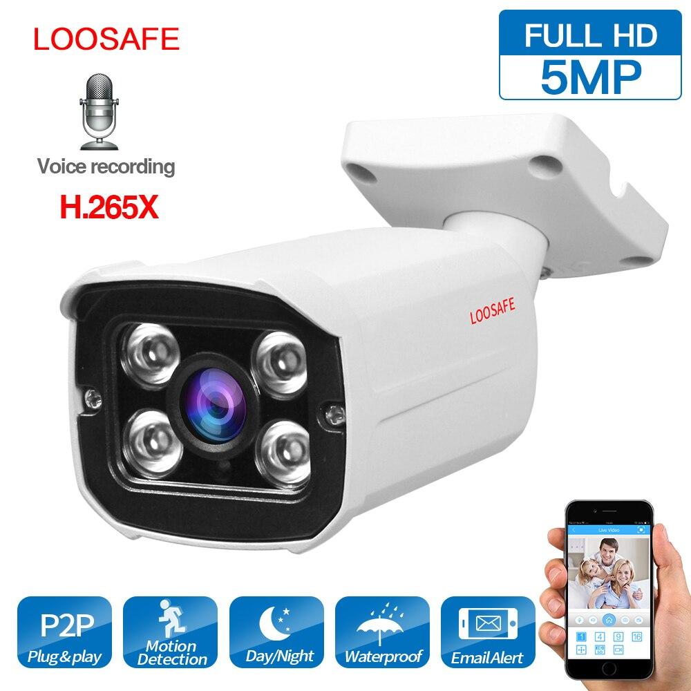 LOOSAFE IP Camera Outdoor Bullet Camera 5MP Network  Security Camera Video CCTV IP66 Waterproof Night Vision Video Camera