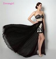 Black 2017 Elegant Cocktail Dresses Sheath Sweetheart Short Mini Detachable Skirt Beaded Lace Homecoming Dresses