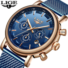 цена LIGE Men Watch Sport Chronograph Mens  Top Brand Luxury Stainless Steel Waterproof Quartz Casual Watches Men Relogio Masculino