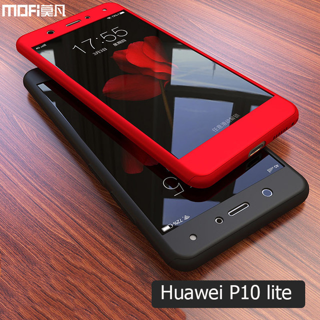 buy cheap 232f7 d7aac US $9.73 |P10 lite case 360 full cover hard huawei p10 lite case front back  with glass MOFi original nova lite cover red protective 5.2