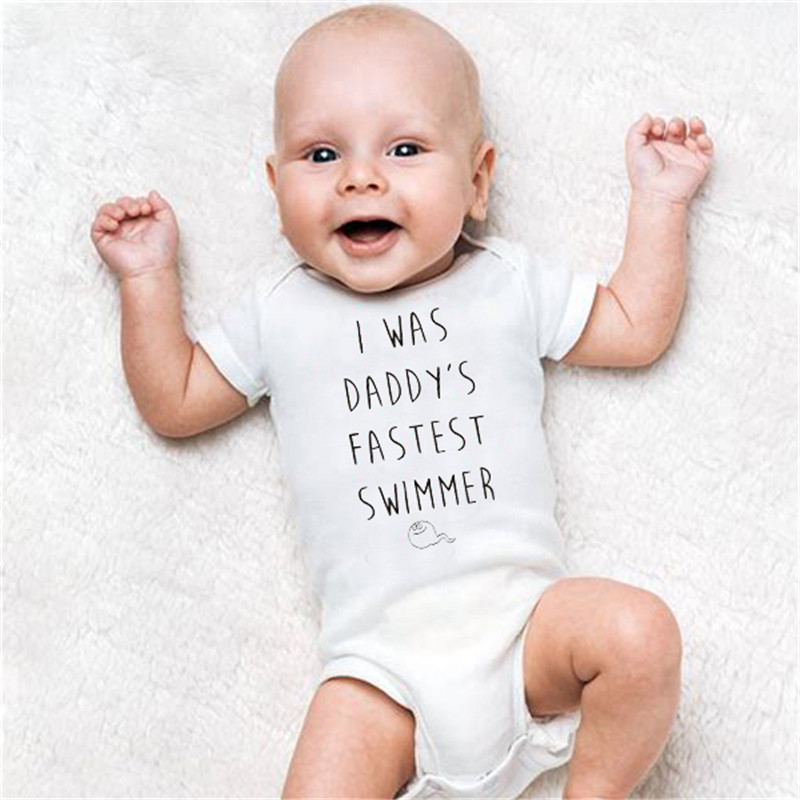 HY0090 New Short Sleeve Cute Baby Rompers I was Daddys Fastest Swimmer Unisex Letters Onesie