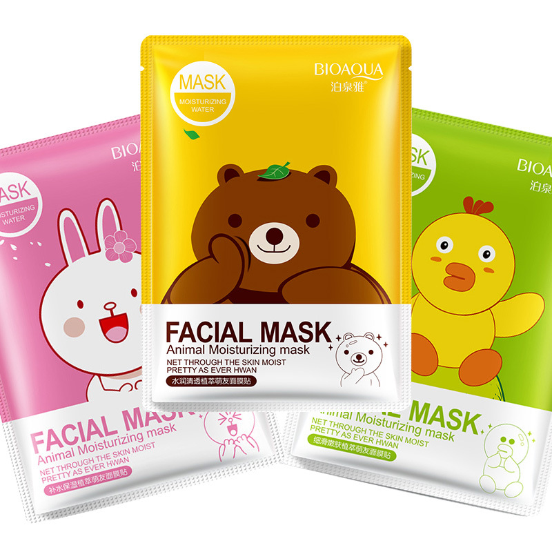 BIOAQUA 1Pcs Cartoon Animal Hydrating Facial Mask Plant Extract Smooth Moisturizing Whitening Beauty Skin Care Masks