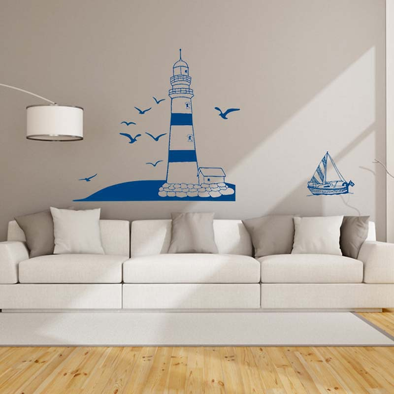 blue Seaside lighthouse Vinyl Wall Stickers For Kids Bedroom Living Room Home Decor wall Sticker Home Decor AY008 22*50CM