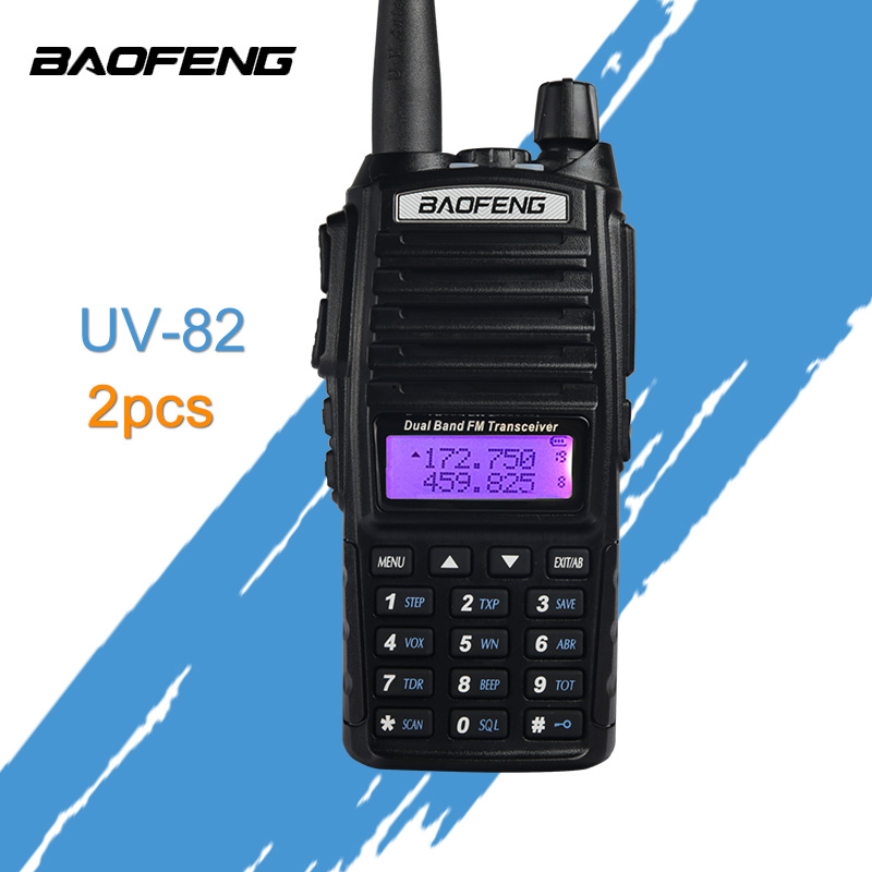 (2 stücke) walkie talkie BaoFeng UV-82 Dual-Band 136-174/400-520 MHz FM Schinken Zwei 2-wege-radio Transceiver super power baofeng uv82