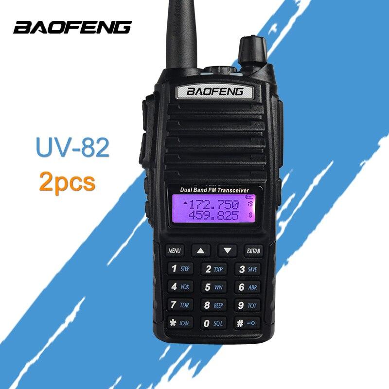 (2 шт.) портативная рация Baofeng UV-82 Dual-Band 136-174/400-520 мГц FM ветчиной двухстороннее Радио трансивер супер питания baofeng uv82