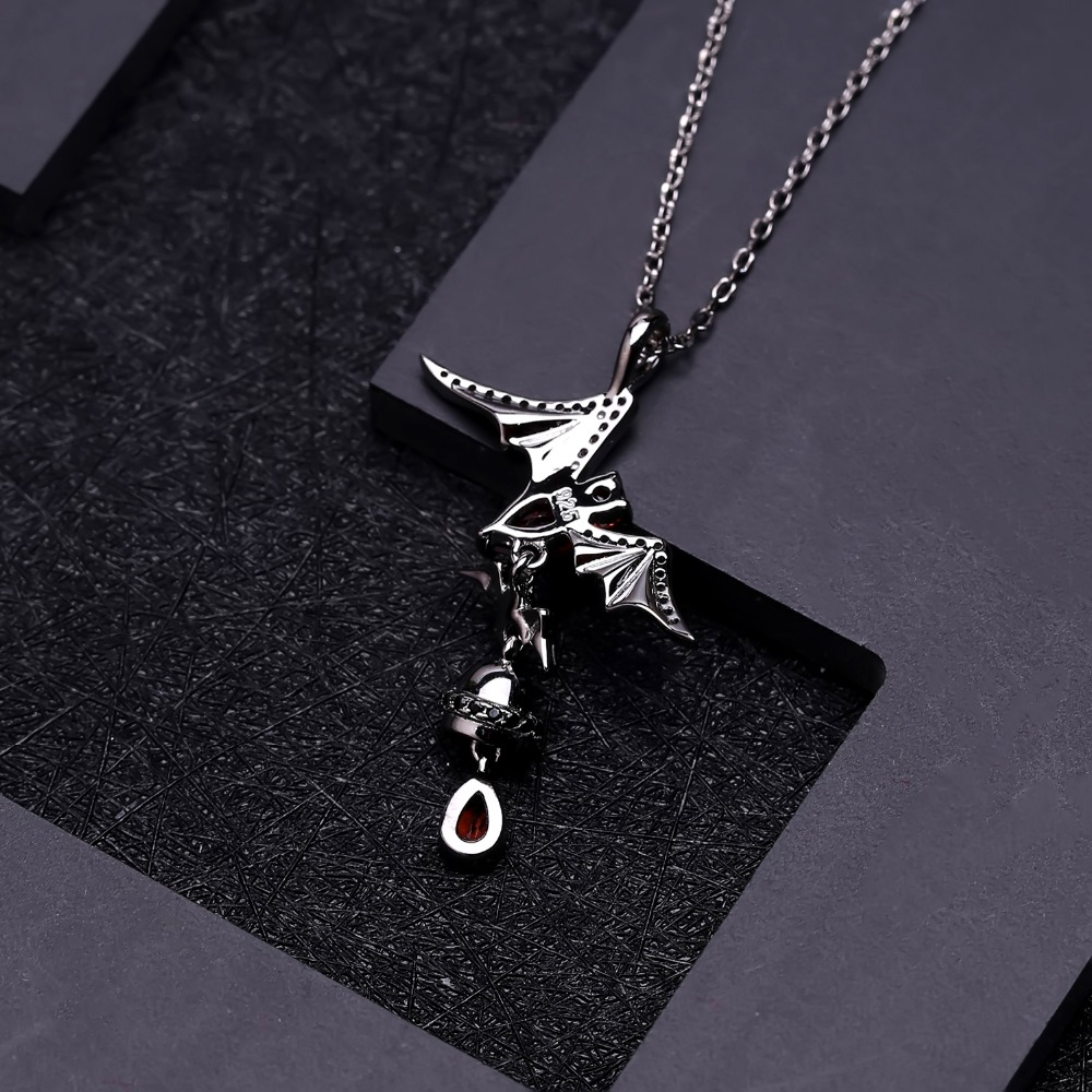 Image 3 - GEMS BALLET 925 Sterling Sliver Bat Shape Natural Garnet 