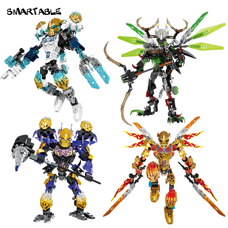 Smartable BIONICLE 4pcs/set Tahu Ikir Umarak Uxar Kopaka Melum Onua Terak Figure 612 Block Toys Compatible legoing BIONICLE a toy a dream new bionicle mask of light xsz 708 serieschildren s kopaka monster of ice bionicle building block toys