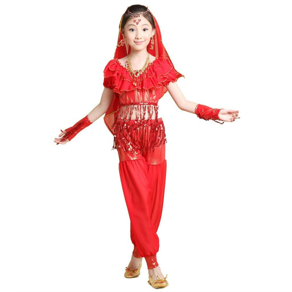 2015 KIDs Belly Dance Costumes Performance DanceWear Clothing Set 4 PCS TopPantsGlovesVeil Child Bollywood Indian Dress