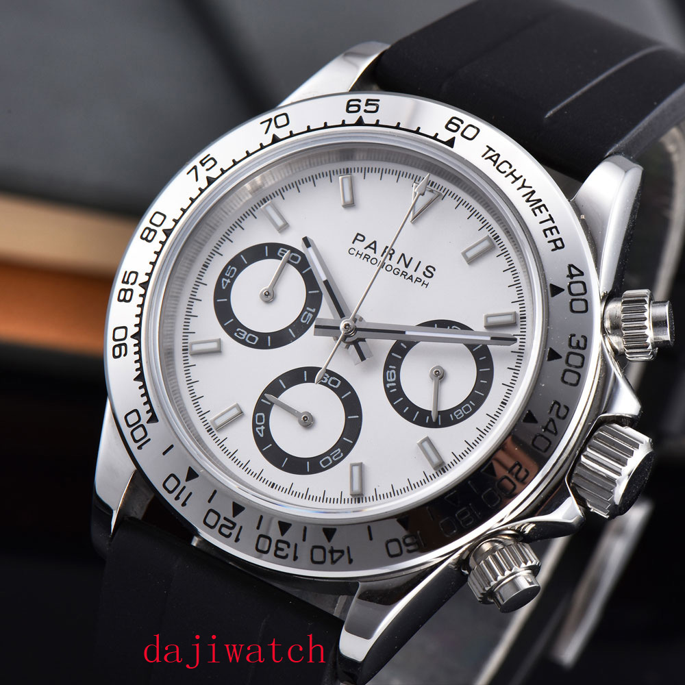 Parnis39mm Men's Chronograph Watch Sapphire Crystal Quartz Casual Wristwatchsports Wat Ch Sports Watch