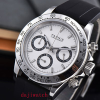 Parnis39mm męski chronograf zegarek Sapphire kryształ kwarcowy na co dzień Wristwatchsports wat ch zegarek sportowy w Zegarki kwarcowe od Zegarki na