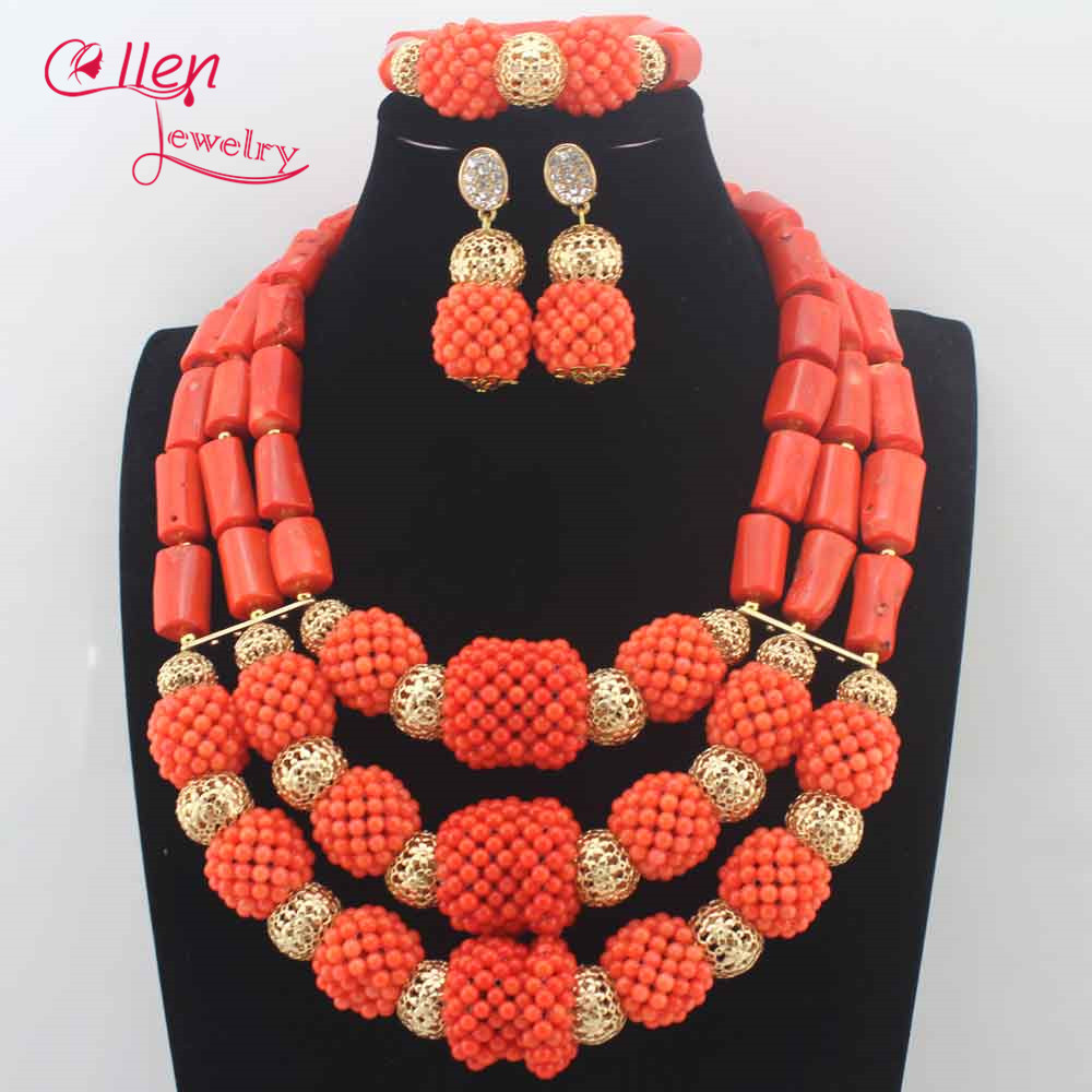 Trendy New Orange Coral Necklace Wedding Jewelry Set African Natural Coral Beads Jewelry Set For Women Gift Free Shipping N0079