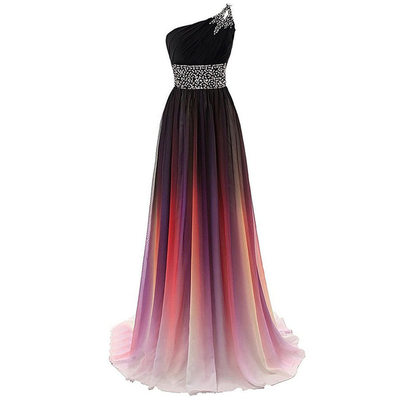U-SWEAR 2019 Prom Dresses One-Shoulder  Sleeveless Beading Gradient Color Cheap Long Chiffon Cheap Evening Dresses