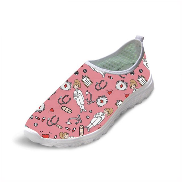 Pink Sketch Medical Print Casual Ultra Lady Loafers Shoes Flat Ultra