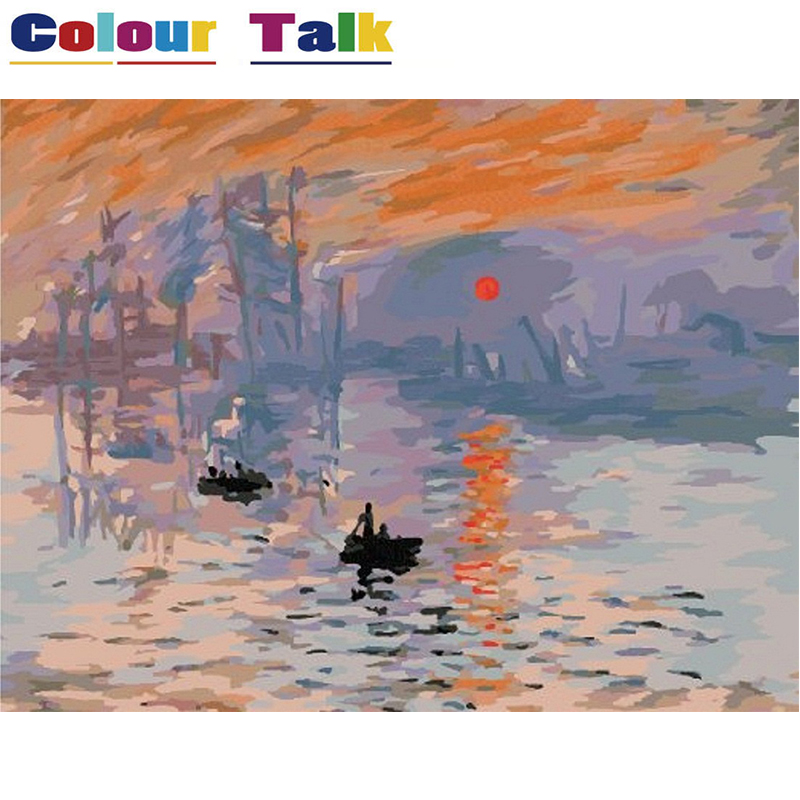 DIY Painting by Numbers No Frame Drawing Kits Paint on Canvas Painting Unique for Home Wall Art Picture by Claude Monet P-0010