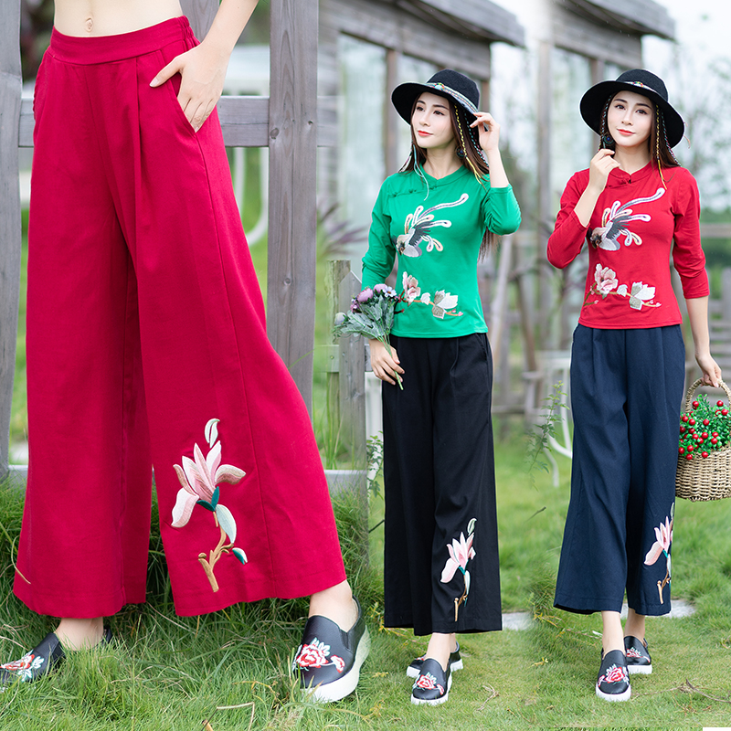 KYQIAO Traditional Chinese clothing women ethnic   wide     leg     pant   female autumn winter original blue black red embroidery trousers