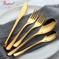 5 sola pieza vajilla de oro Set 18/8 de acero inoxidable al por mayor restaurante de lujo Metal plateado oro cuchillo cuchara tenedor cubiertos