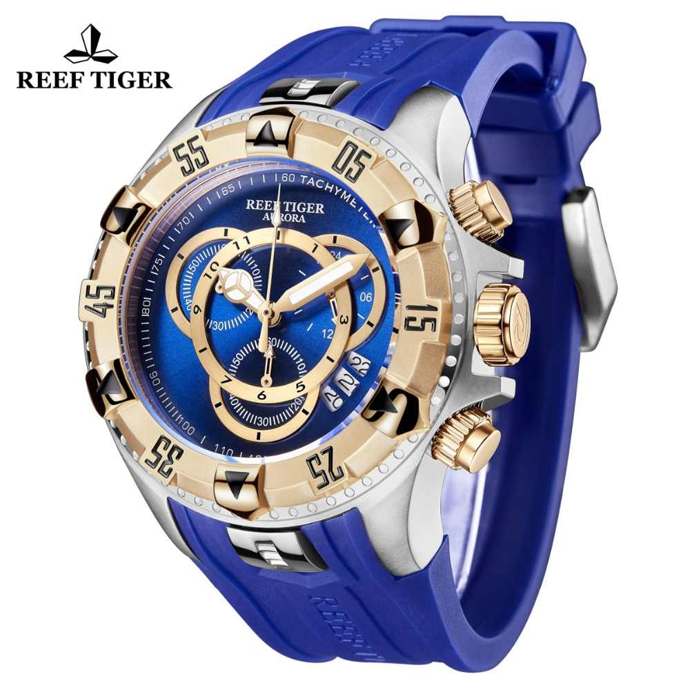 2019 Reef Tiger/RT Top Brand Luxury Men Sport Watch Waterproof Blue Chronograph Military Watch Clock Relogio Masculino RGA303-2