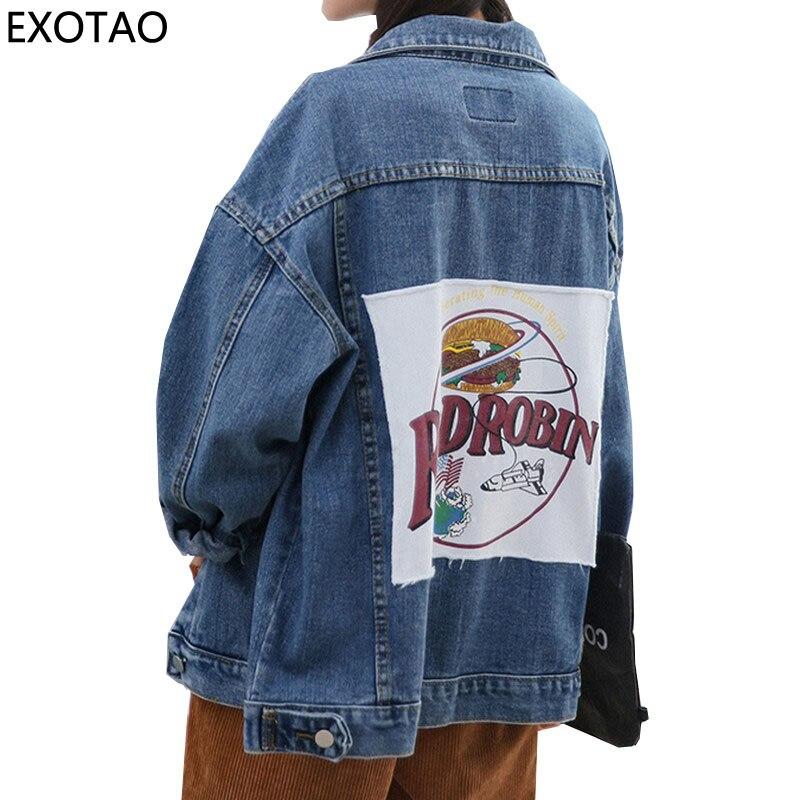 EXOTAO Patch Designs Letter Denim <font><b>Jackets</b></font> Women Oversized Jeans Abrigos Long Sleeve Warm Coats Casual Washed Manteau Jaquetas