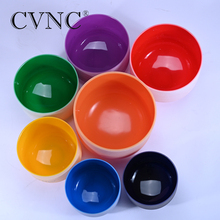 CVNC Set of 7 Chakras Colored Musical Frosted Crystal Quartz Singing Bowl 6-12 Inch стоимость