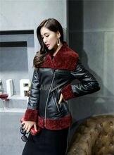 2015 New Black Women Genuine Sheep Leather Jacket Real Lamb Fur Hem Big Collar Warm Winter Slim Outwear Zipper Breasted AU00653