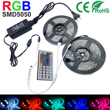 RGB LED Strip Light DC12V 5050 60d/m IP20 4m 5m 8m 10m Non-Waterproof Tiras LED Light Flexible Neon Ribbon  LED Strip set Power