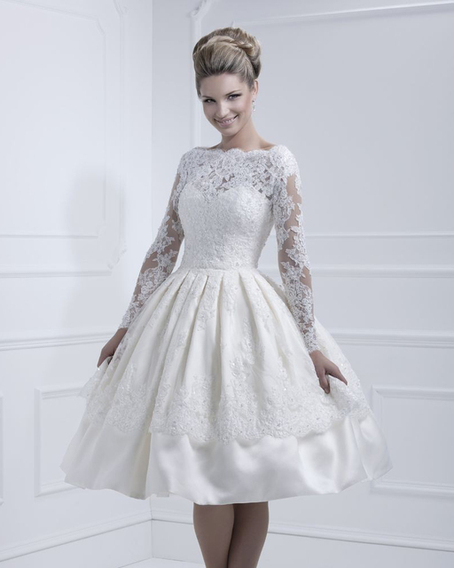 Open Back Tea Length Lace Wedding Dresses