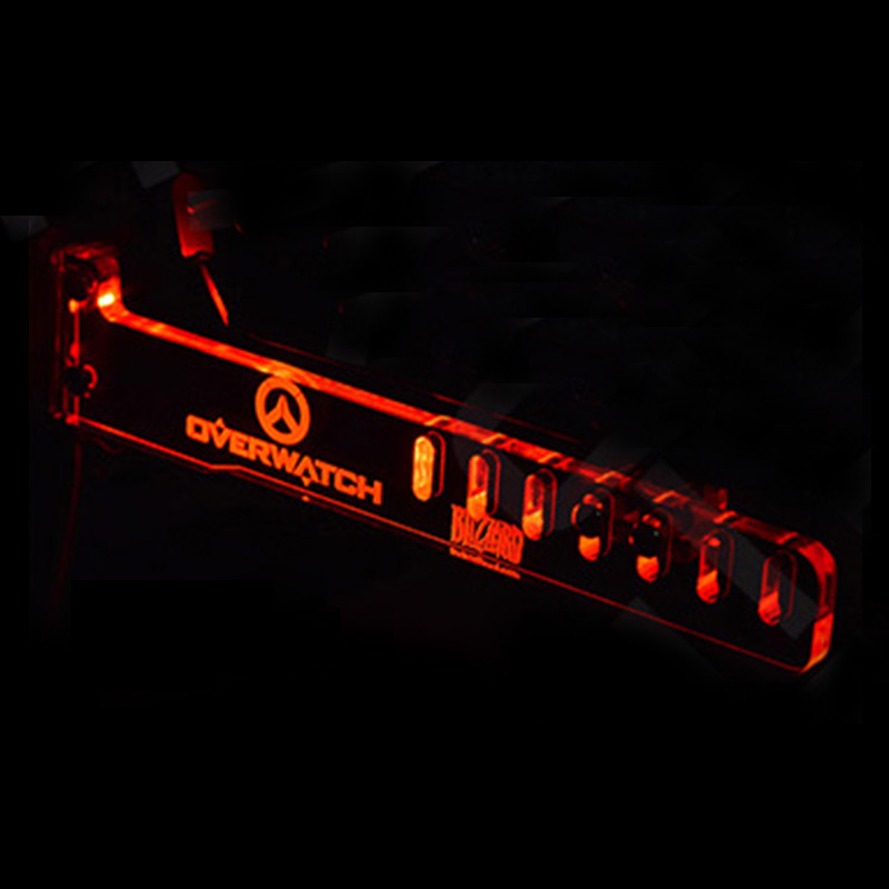 Red OVERWATCH Cool LED Luminous Computer Office Main Box HIS