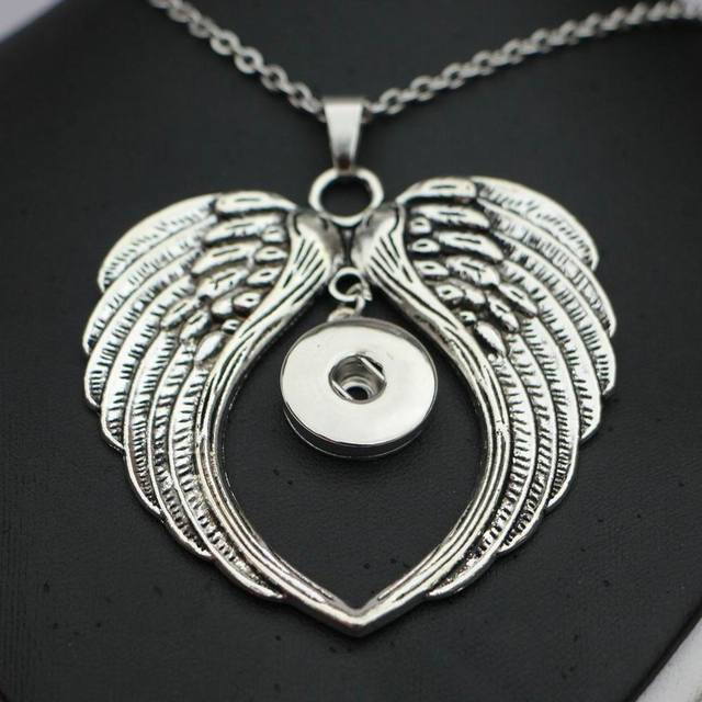 1PC High Quality 50cm Steel Chain Big Angel Wing Snap Button Pendant Necklace for 18MM /20MM Diy Snap Jewelry Necklace ENC014