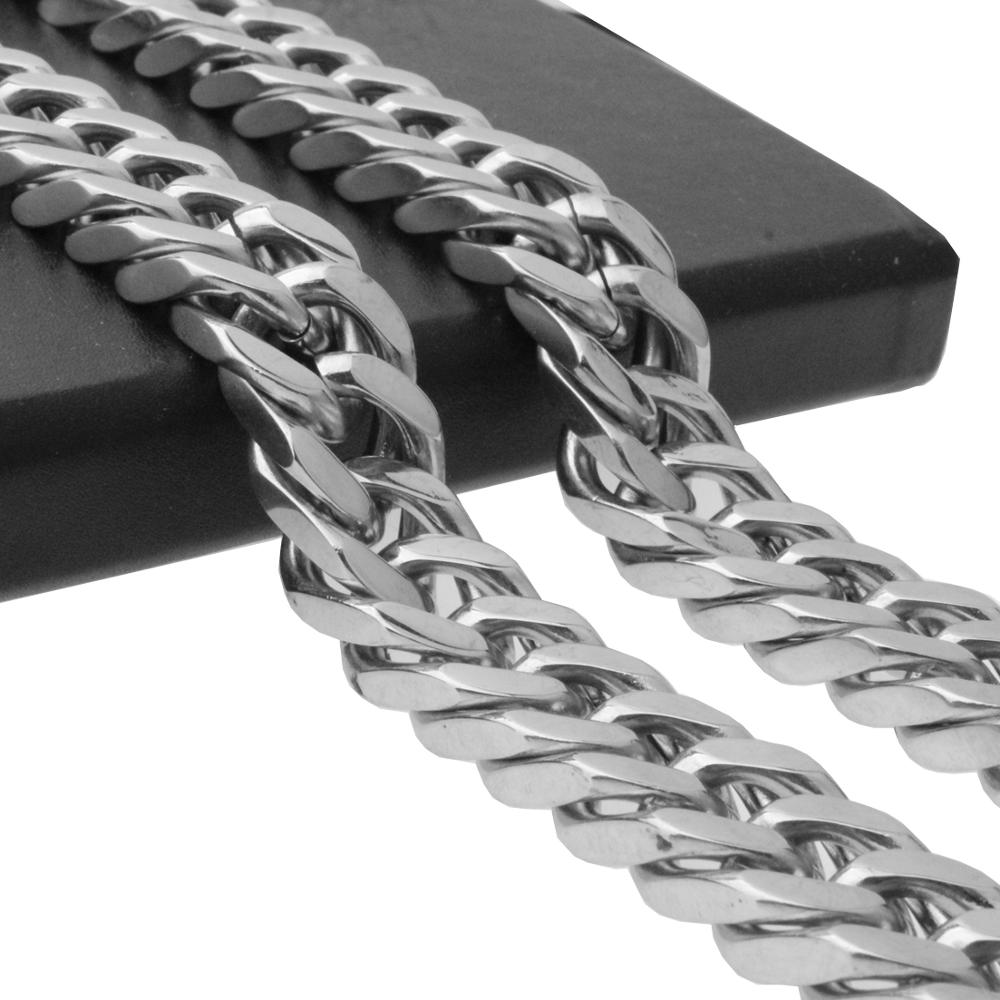 Granny Chic 17mm Men's Stainless Steel Necklace Silver Color Curb Cuban Link Chain Necklace Male Collar Fashion Jewelry 16 36