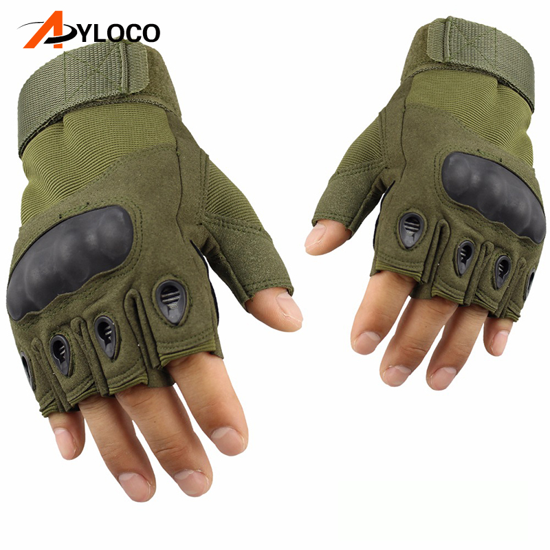 Tactical Gloves Military Special Forces Outdoor Half finger gloves Anti-skid Army Gloves ...