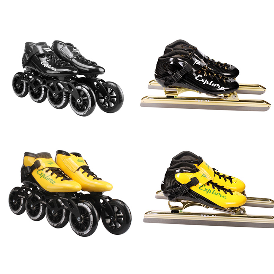 Speed Inline Skates Carbon Fiber Professional Dislocation Blade Ice Skates 4 Wheels Racing Skating Patines Similar Powerslide пластина ada ice blade 150 1000мм