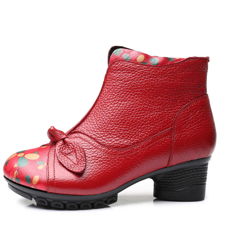 Xiuteng 2019 Lady Kış Yuvarlak Topuklu Kısa Ayakkabı Hakiki Deri Çizmeler Geri Kırmızı Fermuar Kadın yarım çizmeler Büyük Boy 41For Kadın
