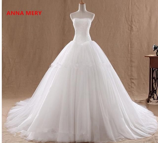 2017 alta qualidade venda quente um branco sem alças de fios de gaze dress o frete grátis noiva wedding dress