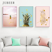 Scandinavian Style Cute Poster Nordic Pineapple Pink Canvas Painting Simple Decorative Picture for Living Room Home Decor