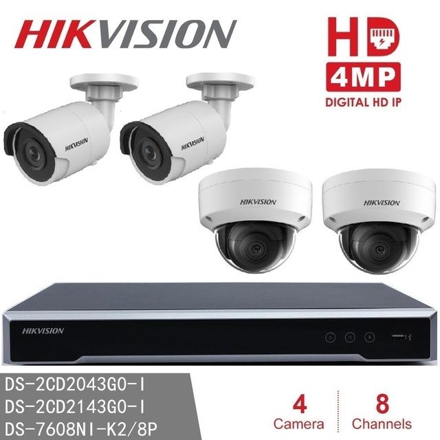 Hikvision CCTV System NVR DS 7608NI K2/8P  8POE + DS 2CD2143G0 I &  DS 2CD2043G0 I 4MP IP Surveillance Camera H265 P2P network