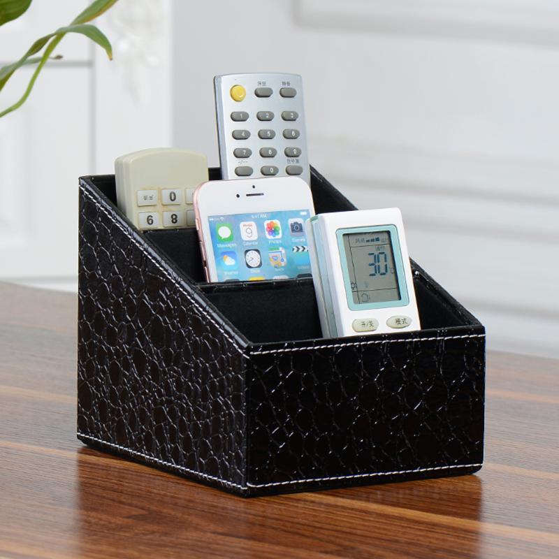 3 Grids Multifunction Leather Desktop Holder Box Makeup Storage Box Home Remote Control Office Holder Container Organizer