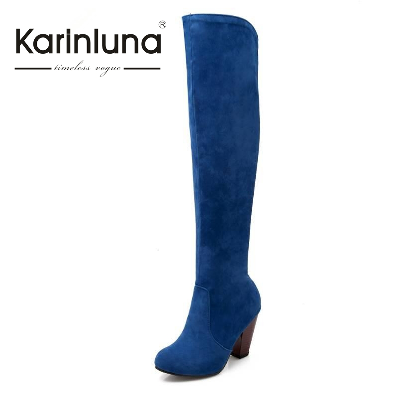 ФОТО New Arrivals Over The Knee Boots Vintage Chunky Heels  Less Platform Shoes Spring Winter Boots Woman Fashion Women Shoes