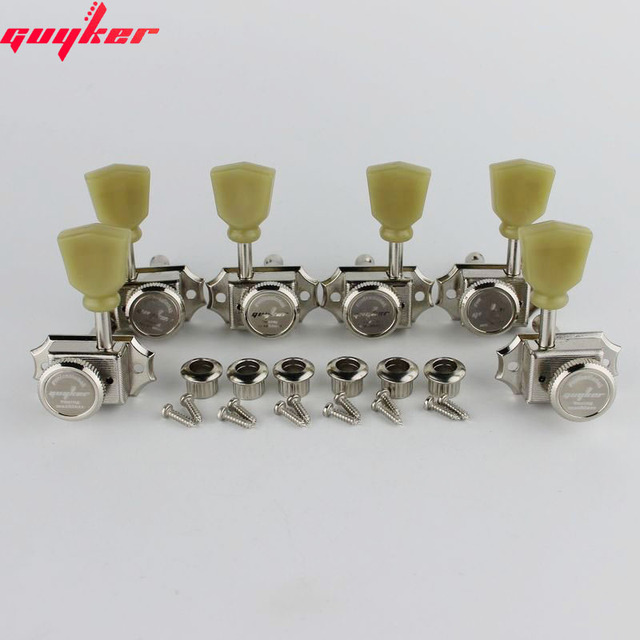 1 Set GUYKER 3R3L Locking String Vintage Deluxe Electric Guitar Machine Heads Tuners Nickel /Chrome Tuning Pegs