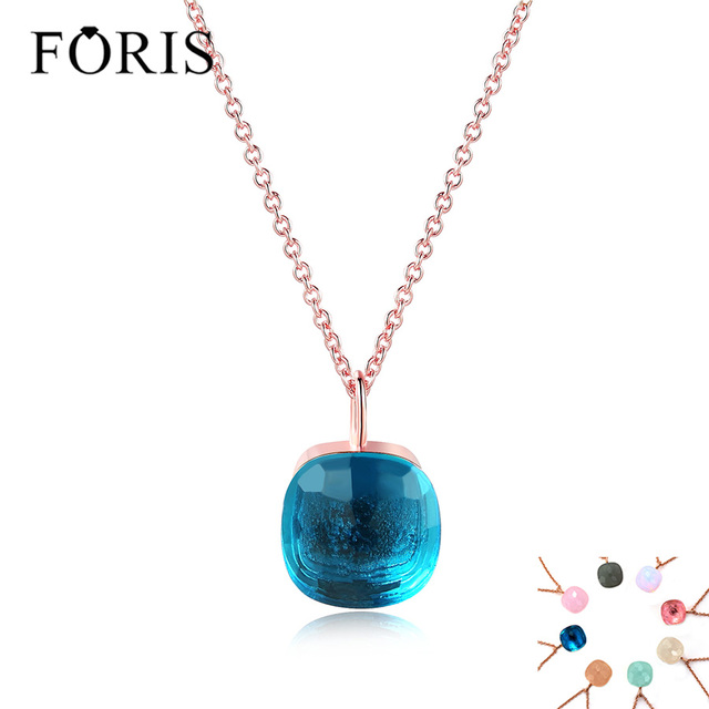 FORIS Hot sale 8 Colors Fashion Jewelry Rose Gold Color Luxury Crystal Necklace For Women Christmas Gift On Sale PN002