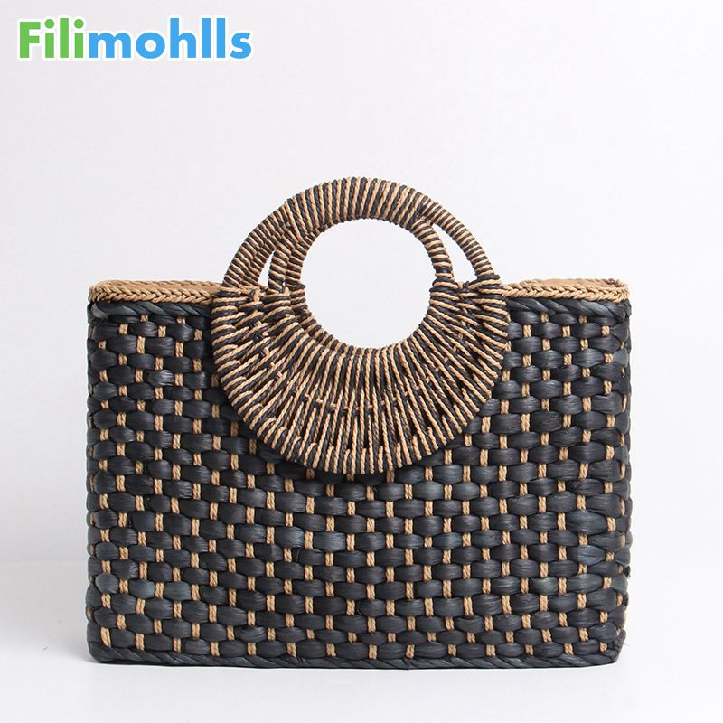 2019 Hand basket shopping bag Black color Bali Island Hand Woven Bag Butterfly buckle Straw Bags Satchel Bohemia Beach Bag S18582019 Hand basket shopping bag Black color Bali Island Hand Woven Bag Butterfly buckle Straw Bags Satchel Bohemia Beach Bag S1858