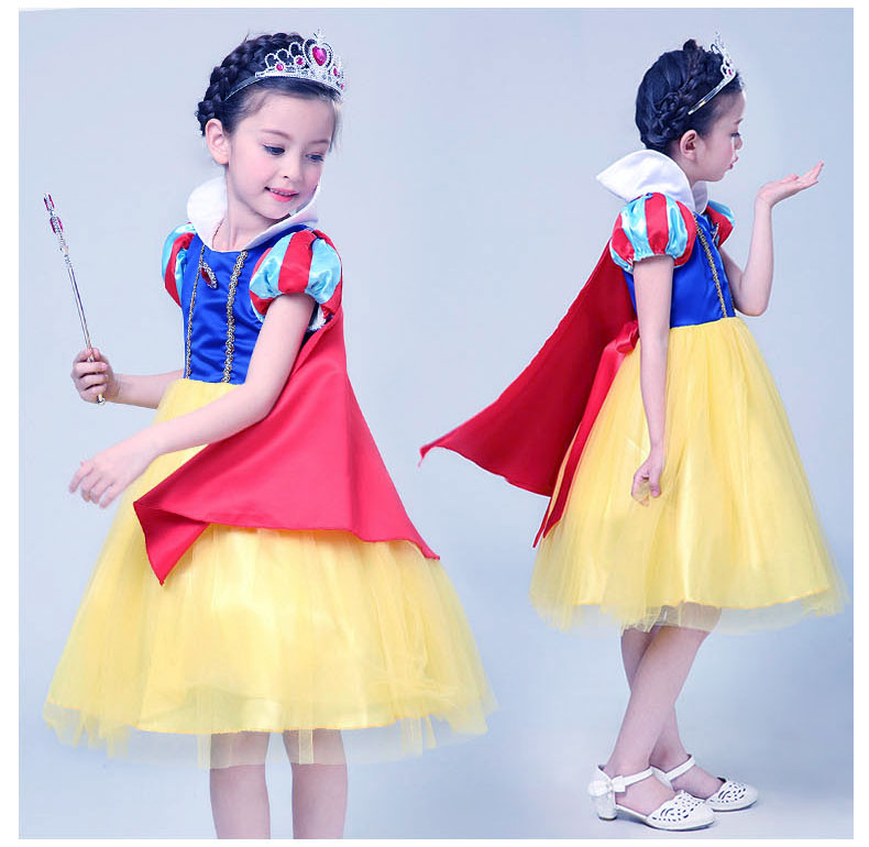 Quality 2-10Y Child Toddler Kids Fancy Dress Halloween Satin Princess Snow White Cosplay Costume for Children Dress Princess free shipping dhl high quality 2 colors kids gougou senta fancy dress lycra suit halloween zentai party cosplay custome kc2051