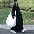 SCUWLINEN 2017 Vestidos Женщины Весна Осень Dress Плюс Размер Длинным Рукавом Вышитые Dress Свободный Свободный Zen Robe Maxi Dress S233