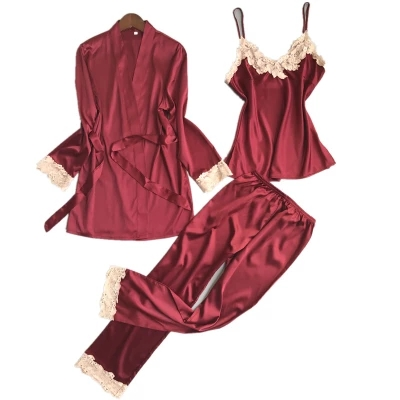 New Women Luxury   Pajama     Sets   Fashion 3 Pcs   Pajama   Long Pants   Set   Female Pijamas Silk Home Suit Sexy Robe   Set   Soft Nightwear Hot