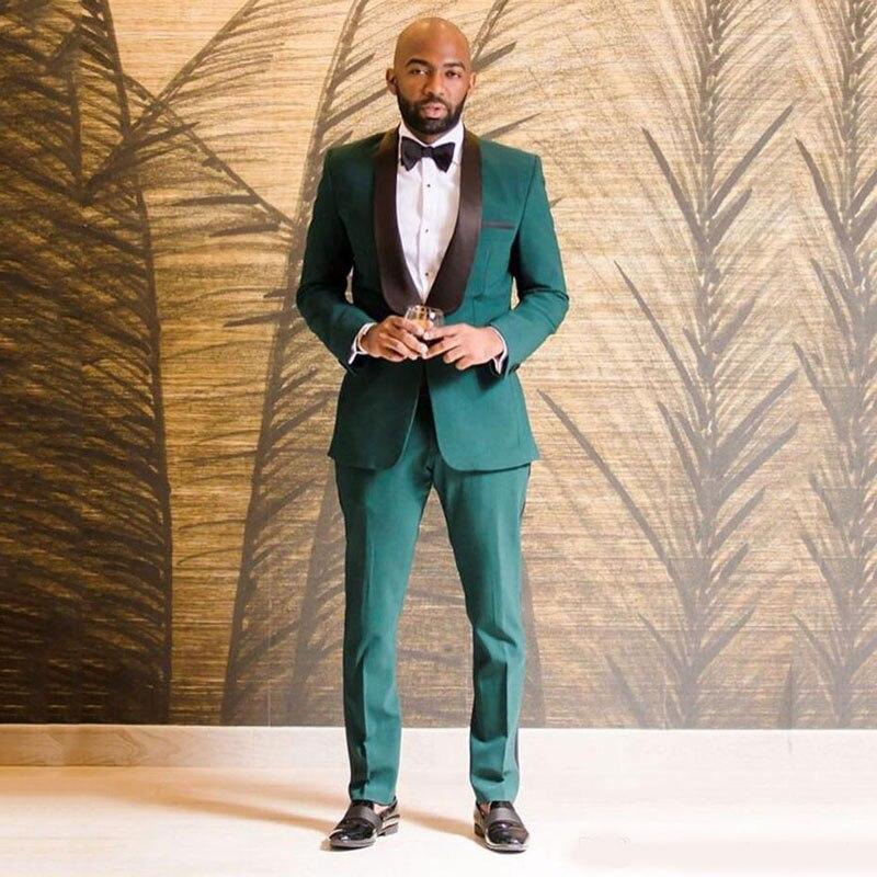 Black Shawl Lapel Green Mens Suits Wedding Suits Groom Tuxedo Slim Fit Terno Masculino 2Piece Coat Pants Groomsmen Blazers Party