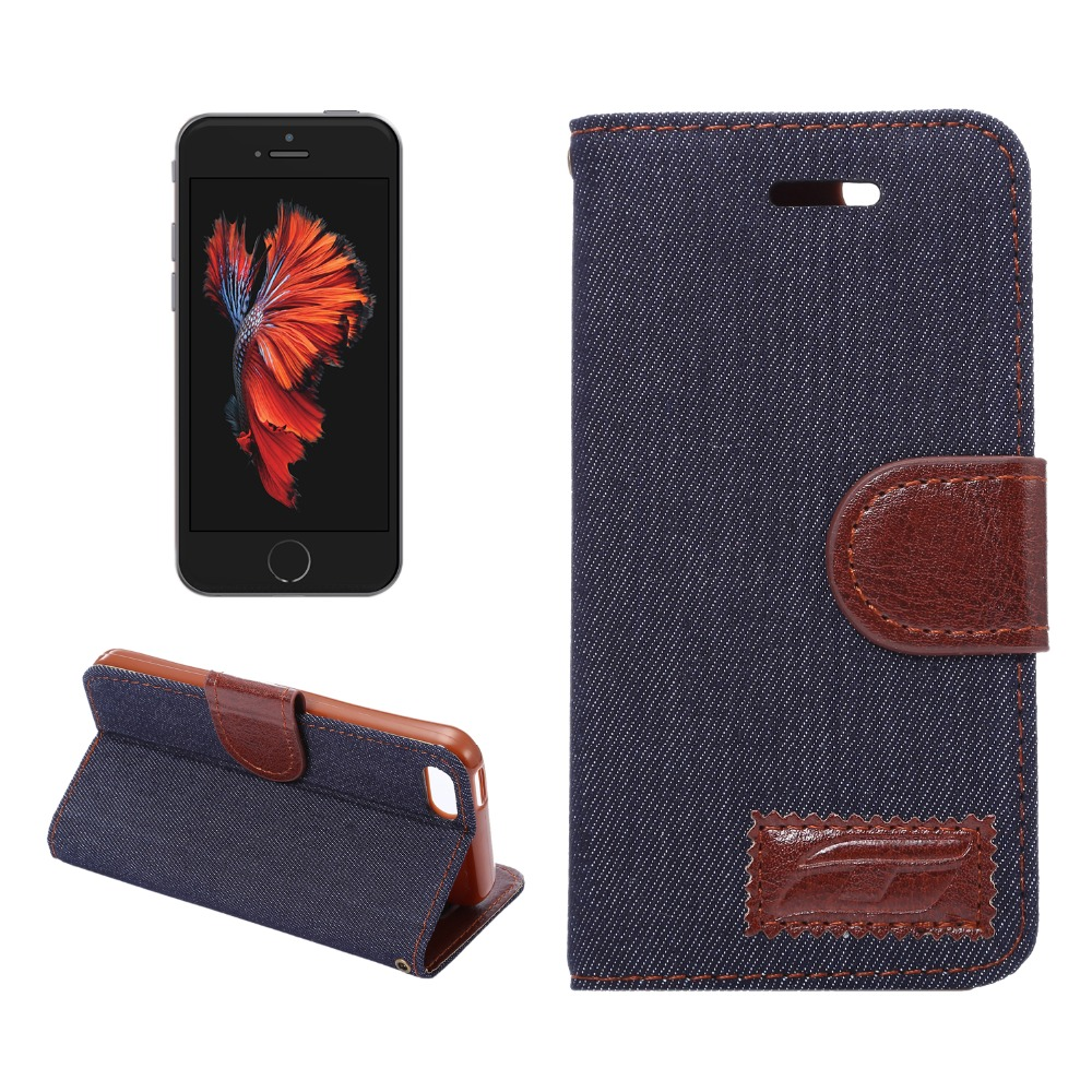Haissky Demin Cloth Flip PU Leather Case for iPhone 4 5 5S 6 6S 7 8 X Magnetic Wallet Case With Card Slots for iPhone 6 7 8 Plus