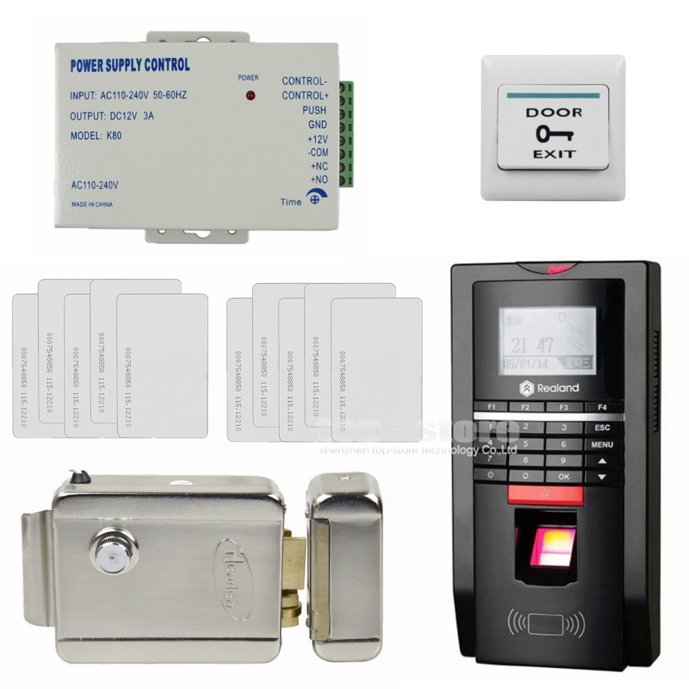 DIYSECUR LCD Fingerprint Id Card Reader Password Keypad Door Access Control System Kit + Electric Lock For Office / House уход за ногтями essence капли усилитель роста ногтей growth boosting drops объем 8 мл