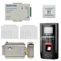 DIYSECUR LCD Fingerprint Id Card Reader Password Keypad Door Access Control System Kit + Electric Lock For Office / House
