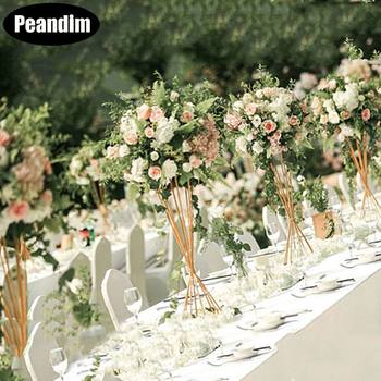 Peandim Flowers Rack DIY Vases Gold Flowers Holder 50cm Tall Road Lead Wedding Table Centerpiece For Party Home Decoration