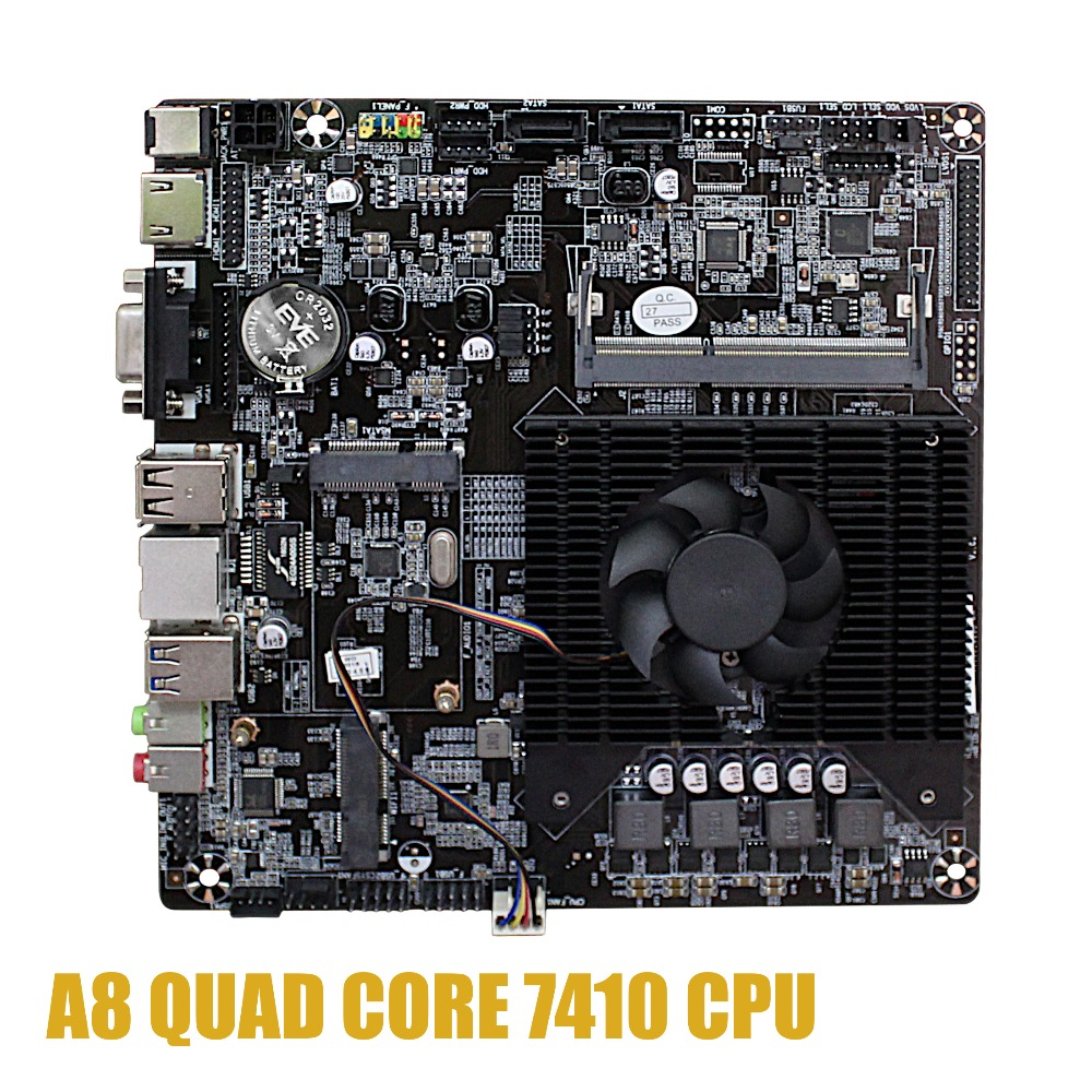 Ultra-thin Mini Itx Motherboard Built In  CPU A8 7410  R5 Video Graph Processing APU USB 3.0 VGA RJ45 HDMI USB MSata Use 12V DC