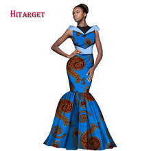 2017 New Fashion African Dress for Women Maxi Mermaid Sleeveless Dashiki Print Traditional Clothing WY1655